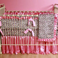 Leopard Minky Custom Crib Bedding | Baby Boutique | Custom Girl's Crib Bedding