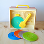 Retro Fisher Price Music Box Record Player with 5 Records 1971 Vintage
