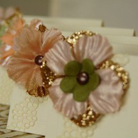 Ivory Place Cards embellished with Flowers by DuryeaPlaceDesigns