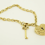 9ct Gold Locking Heart Bracelet with Key