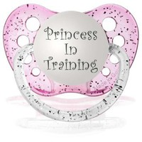 Personalized Pacifiers Princess in Training Pacifier in Glitter Pink: Baby