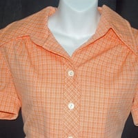 SALE - 1970's Vintage Jeanne Model Blouse / Mod / Women's Size M-L / Pastel Orange & Checks