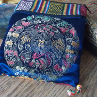 Tarot Card Bag, Two pocket, Zipper closure both pockets,Beautiful detailed design on blue silk front pocket