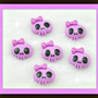 Pink or Black Skull Cabochons (choose color) Low shipping