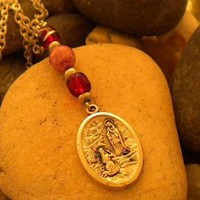 Our Lady of Lourdes Medal Necklace by IllusionsbyDonna on Zibbet