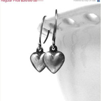 Mothers Day Sale Heart Earrings, Sterling Silver, Rustic Darkened