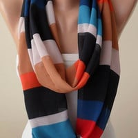 Orange - Dark Blue Infinity Scarf -  Chiffon Fabric