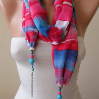 Mother's Day - Jewelry Scarf - Pink and Blue Chiffon Fabric - with Beads and Chain