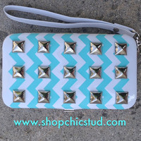 Studded Clutch Wallet for iPhone 4s 5 - Mint Chevron Print -Silver Studs-