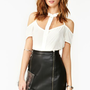 Shortcut Cut-out Sheer Ivory Chiffon Blouse
