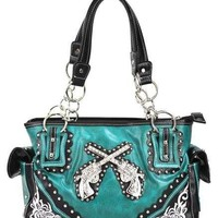 Western Pistol Six Shooter GUN Rhinestone Bling Pocket Tote Purse Handbag Blue
