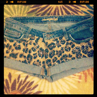 Sequin Leopard Print Shorts  by AngeliqueMerici on Etsy
