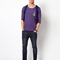 ASOS 3/4 Sleeve T-Shirt With Anchor Print Pocket at asos.com
