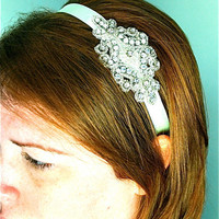 Mint Green and Rhinestone Ribbon Headband by SomethingColorful