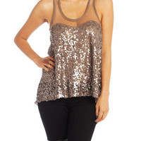 Sequined Brown Mesh Flow Tank