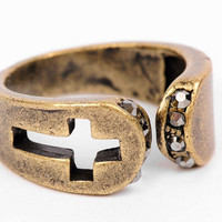 Cut the Cross Ring in Antique Gold :: tobi
