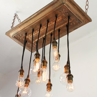 Copper Salvaged barn tin chandy with varying edison-style bulbs