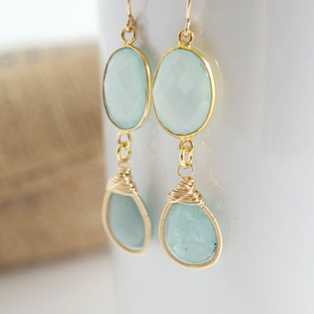 Aquamarine Dangle Earrings, Chalcedony Dangle Earrings, Birthstone Earrings, Bridal Jewelry, Bezel Set Earrings, Gemstone Earrings