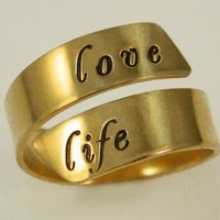 Adjustable Gold Filled Message Ring by by donnaOdesigns on Etsy