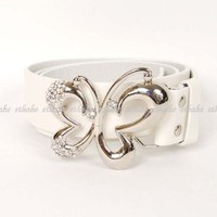 Butterfly Metal Buckle Waist Belt Chain White