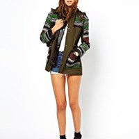 ASOS Premium Mixed Fabric Parka at asos.com