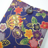 "Kimono Macbook Air 11"" Case, Great Gift Ideas, Gift For Her, Customize To Your Laptop Japanese Cotton Fabric Plum Blossoms Dark Purple"