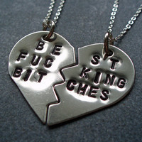 Hand Stamped Best F&amp;cking Bitches Necklace - Best F%cking Friends - BFF Split Heart Necklaces - Nickel Silver