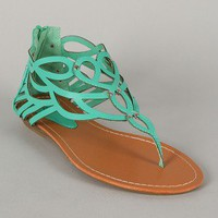 Shari-05 Cut-Out Thong Flat Sandal