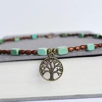 Wood and Turquoise NecklaceTree of Life Bead by LOVEnLAVISH