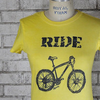 Ladies &quot;RIDE&quot; Mountain Bike Tshirt, cotton crew neck tee shirt in blue or custom colors