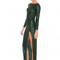 Missguided - Dorrie Round Neck Sequin Maxi Dress In Deep Green