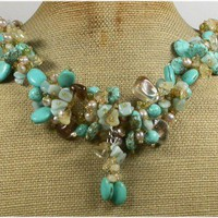 TURQUOISE AMAZONITE GOLDEN QUARTZ CITRINE NECKLACE | chlorisgift - Jewelry on ArtFire