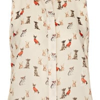 Sleeveless Crop Dog Shirt - Tops - Clothing - Topshop USA