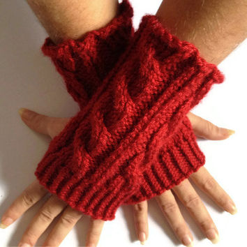 MADE TO ORDER Fingerless Gloves Wrist Warmers in Red Cable Handknit
