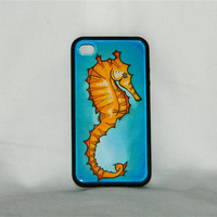 Sea-Horse Play, iPhone case, iPhone cover, iPhone 4, iPhone 4s, sea horse, water, ocean, gold, blue, preppy, spring, fashion, one of a kind