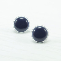 Navy Blue Stud Earrings 14mm - Dark Blue Stud Earrings - Stud - Post Earrings - Ear Studs- Navy Blue Earrings - Mod Modern Earring by Biesge