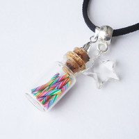 Tutti Frutti Rainbow Candy Sticks in a Jar - pendant / necklace