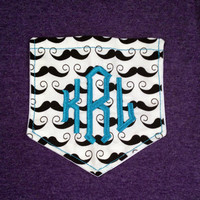 Monogrammed Short sleeve Mustache pocket tee