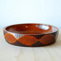 Mid Century Wooden Bowl Tiki Style Retro