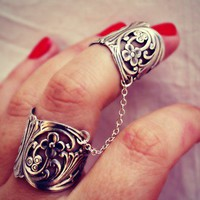 silver floral slave ring, double ring