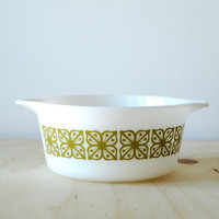Pyrex Square Flowers Verde Cinderella Round Casserole Dish without Lid Retro 70s