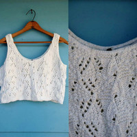 1990s. white crochet crop tank. s-m