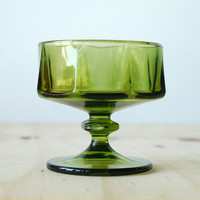 Vintage Green Glass Sherbet Glass Retro 1970s