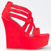 Qupid KUNIS-10 High Platform Wedge Heel Strappy Sandal ZOOSHOO