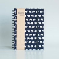 A5 Elephants Fabric Wrapped Notebook with Elastic Band (choose from line / empty sheets)