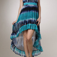 Bohe Hippie Tye Dye Strapless High Low Ruffled Sun Dress NEW S.M