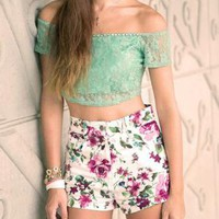 White High Waisted Floral Shorts
