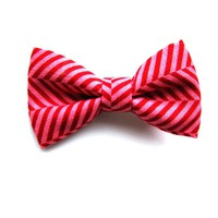 Tiny Red and Pink Herringbone Bow