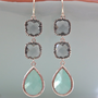 Blue and Gray Dangle Earrings