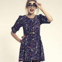DahliaFashion-Ruche Sleeve Floral Dress